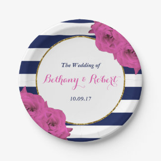 The Chic Modern Luxe Wedding Collection Pink Roses Paper Plate