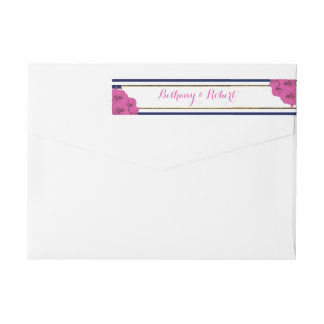 The Chic Modern Luxe Wedding Collection Pink Roses Wrap Around Label