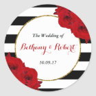 The Chic Modern Luxe Wedding Collection- Red Roses Classic Round Sticker