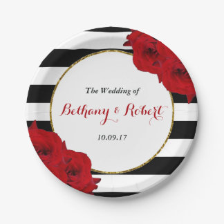 The Chic Modern Luxe Wedding Collection- Red Roses Paper Plate