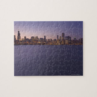 The Chicago skyline at twilight. Jigsaw Puzzle