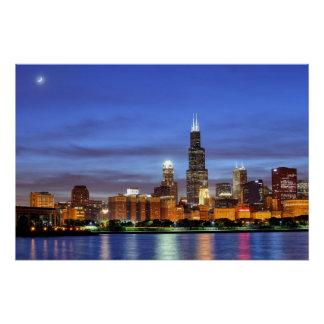 The Chicago skyline from the Adler Planetarium Poster
