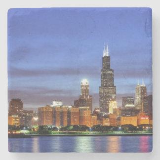 The Chicago skyline from the Adler Planetarium Stone Beverage Coaster