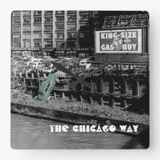 THE CHICAGO WAY ANGRY MOTORIST COLORSPLASH ANTIQUE SQUARE WALL CLOCK