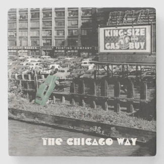 THE CHICAGO WAY ANGRY MOTORIST COLORSPLASH ANTIQUE STONE COASTER