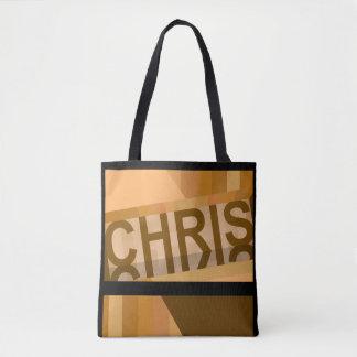 The Chris Tote Bag -Earthtones on Black