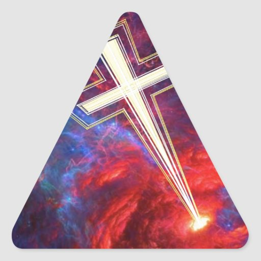The Chrisian Cross,... out of The Heavens. Triangle Stickers