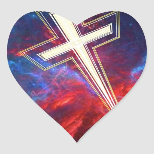 The Chrisian Cross,... out of The Heavens. Heart Sticker