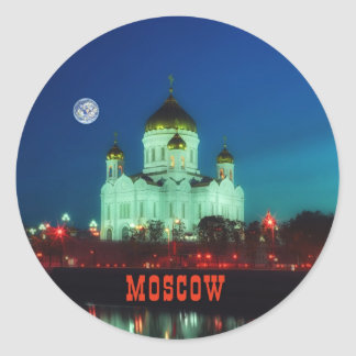 The Christ the Savior cathedral in Moscow Round Sticker