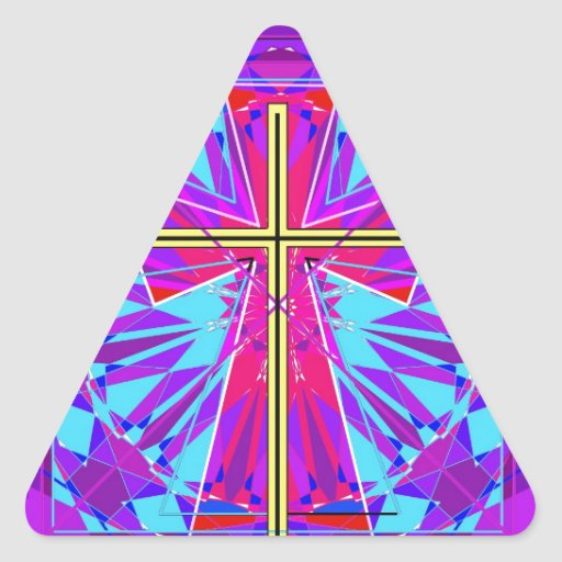 The Christian Stained Glass Window. Triangle Sticker
