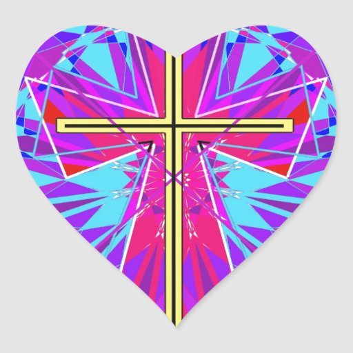 The Christian Stained Glass Window. Heart Stickers