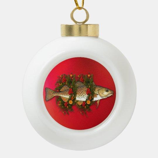 The Christmas Cod Ceramic Ball Ornament