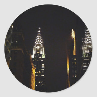 The Chrysler Building at Night, New York City Round Sticker