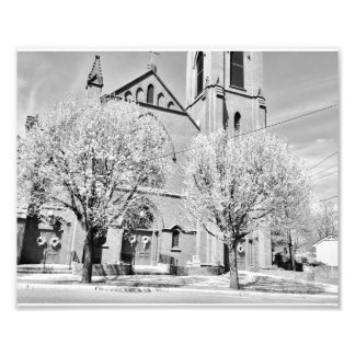The Church Behind the Trees in Black and White Photographic Print