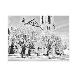 The Church Behind the Trees in Black and White Stretched Canvas Prints