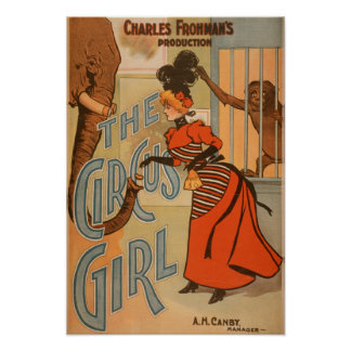 The Circus Girl - Feeding Elephant and Monkey Poster