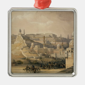 """The Citadel of Cairo, from """"Egypt and Nubia"""" Silver-Colored Square Ornament"""