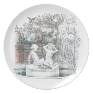 the city fountain with figurines of girls plate