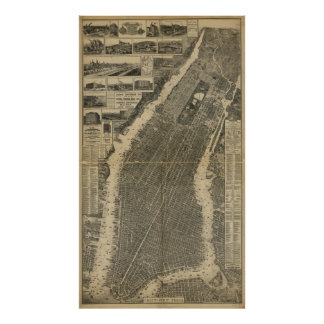 The City of New York Map (1879) Poster