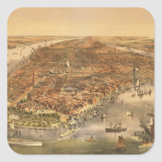 The City of New York, pub. by Currier and Ives, 18 Square Stickers