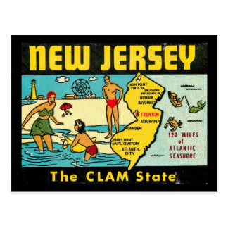 The Clam State, New Jersey, Vintage Postcard