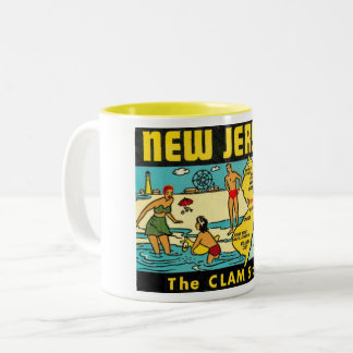 The Clam State, New Jersey, Vintage Two-Tone Coffee Mug