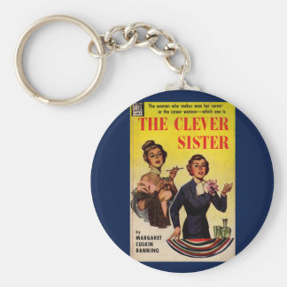 The Clever Sister 1950s pulp novel cover Basic Round Button Keychain