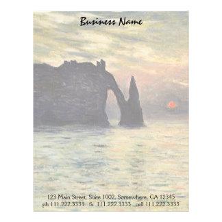 The Cliff Etretat, Sunset by Claude Monet Letterhead