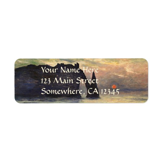 The Cliff Etretat, Sunset by Claude Monet Return Address Label