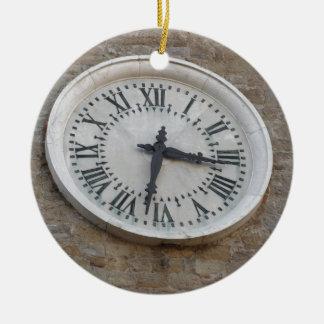 The clock on the facade of the Palazzo dei Priori Ceramic Ornament