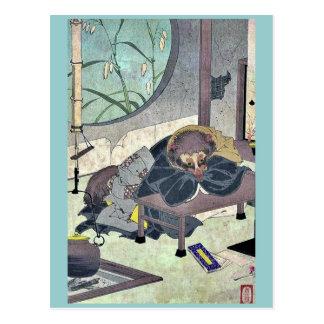 The clothes changing tea pot by Taiso, Yoshitoshi Postcard