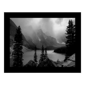The Clouds Burst (Bordered) Black & White Poster