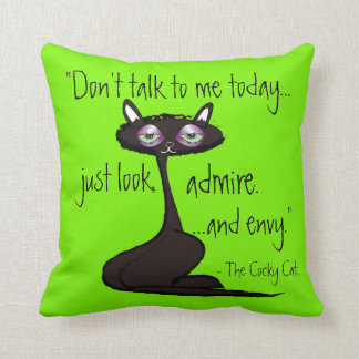 The Cocky Cat Throw Pillow