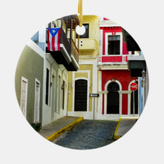 the color of old San Juan Puerto Rico Ceramic Ornament
