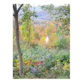 the colors of a mountain fall postcard
