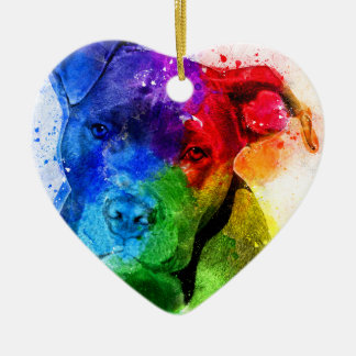 The colors of Love are a Pitbull Ceramic Ornament