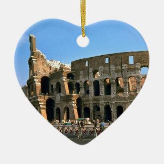 The Colosseum in Rome Ceramic Heart Ornament