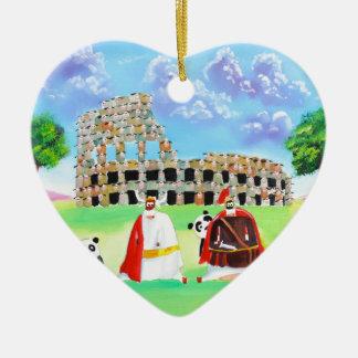 the colosseum made of sheep Gordon Bruce art Ceramic Heart Ornament