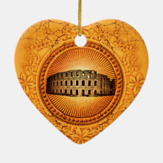 The Colosseum on a button with floral elements Ceramic Heart Ornament