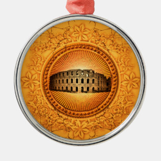 The Colosseum on a button with floral elements Silver-Colored Round Ornament