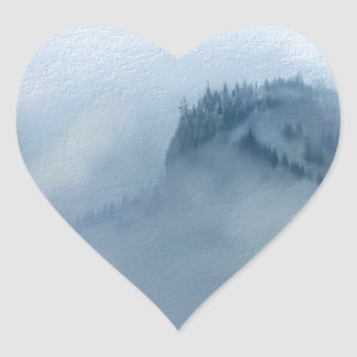 The Columbia Gorge In The Fog Heart Sticker