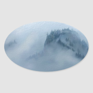 The Columbia Gorge In The Fog Oval Sticker