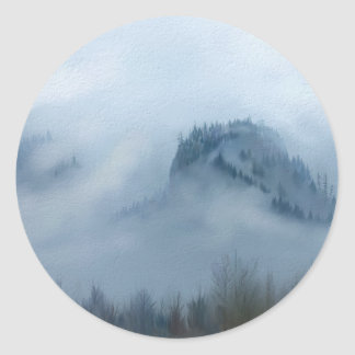The Columbia Gorge In The Fog Round Sticker