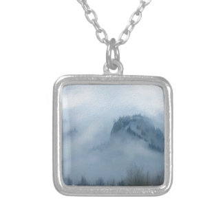 The Columbia Gorge In The Fog Silver Plated Necklace
