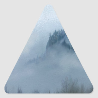 The Columbia Gorge In The Fog Triangle Sticker