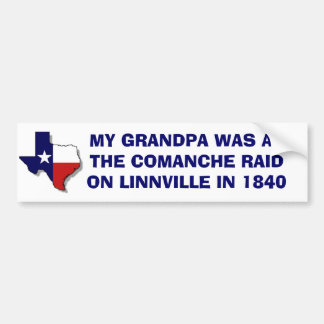 THE COMANCHE RAID ON LINNVILLE - 1840 BUMPER STICKER