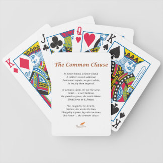 The Common Clause Poem Bicycle Playing Cards