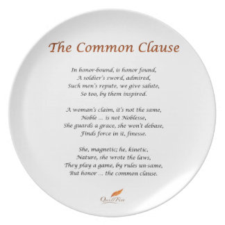 The Common Clause Poem Plate
