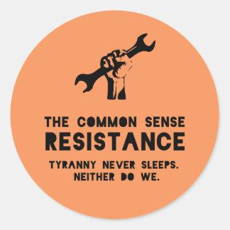 The Common Sense Resistance - Orange Classic Round Sticker