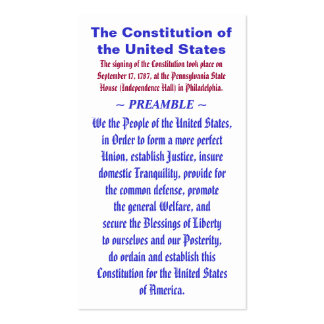 The Constitution of the United States ~ PREAMBLE Business Cards